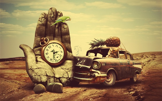 Wallpaper Cat driving a car, stone hand, clock, creative design