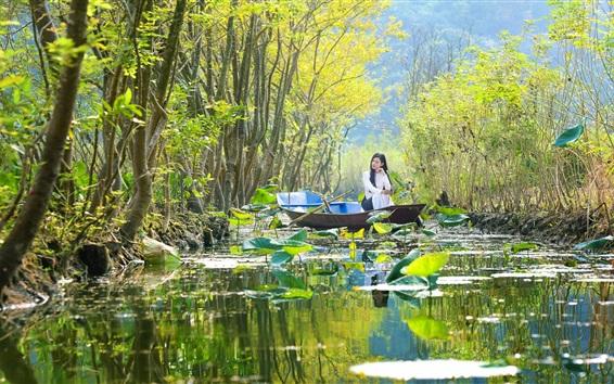 Papéis de Parede China, campo, barco, garota, lagoa, lótus, árvores