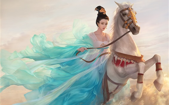 Wallpaper Chinese Princess, blue dress girl, horse, retro, art picture