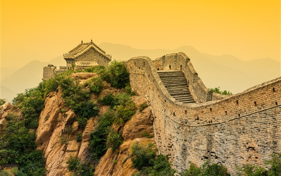 Wallpaper Chinese landscape, Great Wall, dusk