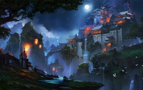 Wallpaper Chinese landscape, houses, moon, night, mountains, art drawing