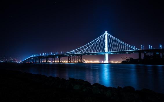 Fondos de pantalla Ciudad, puente, bahía, luces, noche, san francisco, estados unidos
