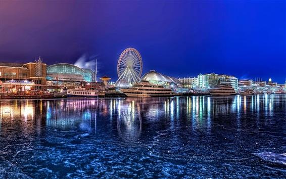 Wallpaper City, night, river, dock, yacht, houses, lights