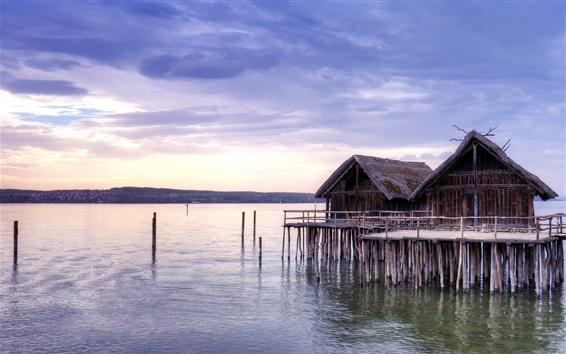 Wallpaper Coast, sea, huts
