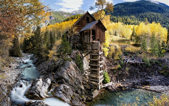 Wallpaper Colorado, Crystal Mill, United States, trees, stream, autumn