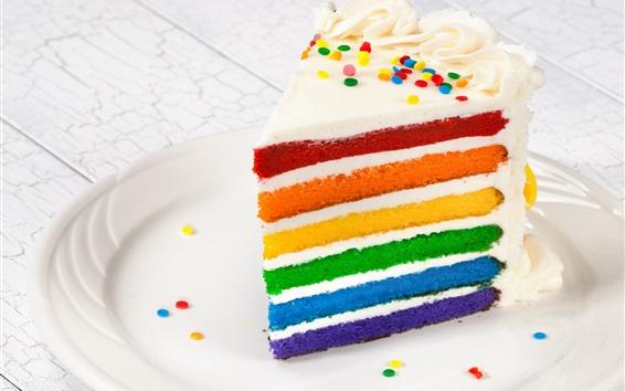 壁紙 カラフルなレイヤードケーキ、デザート
