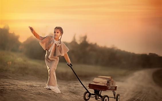 Fond d'écran Cute child girl, toy truck, book