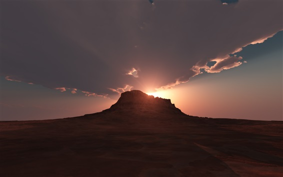 Wallpaper Desert, mountain, clouds, sunrise, dawn