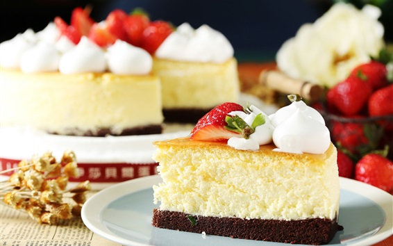 Wallpaper Dessert, cake, strawberry, cream