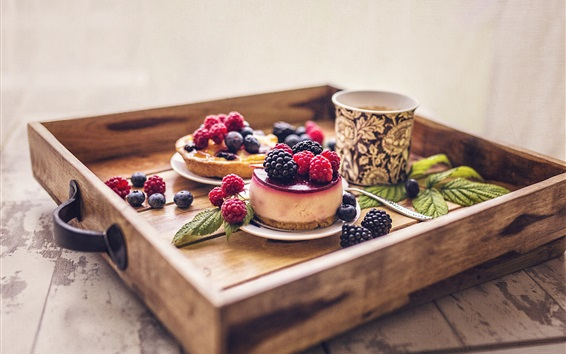 Wallpaper Dessert, cakes, berries, coffee
