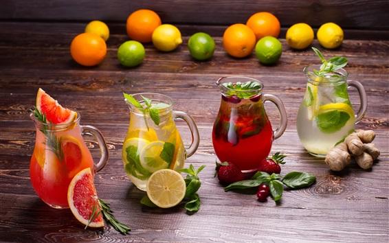 Обои Напитки и фрукты, лимон, клубника, апельсины