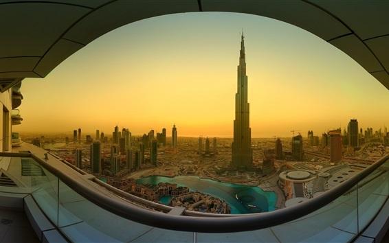 Wallpaper Dubai, Khalifa Tower, skyscrapers, morning