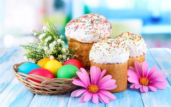 Обои Пасхальные яйца, торт, цветы