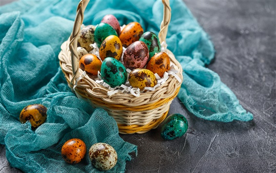 Wallpaper Easter eggs, colorful, basket, cloth