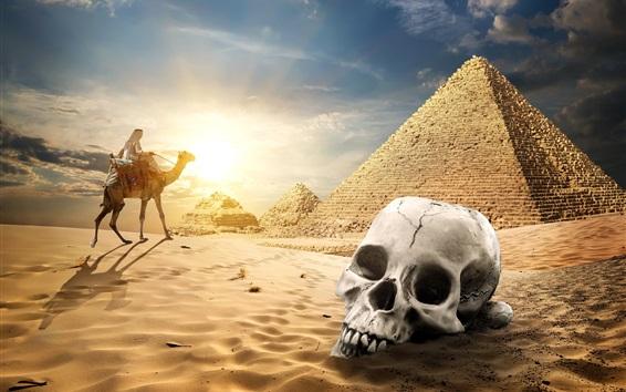 Wallpaper Egypt pyramid, desert, skull, camel, sunset