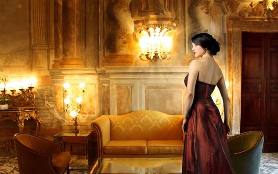 Wallpaper Elegant girl, red clothing, furniture, lights, decoration