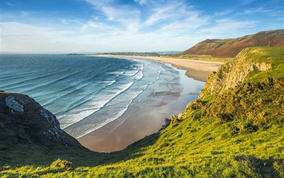 Wallpaper England, Wales, sea, beach, greens, mountains, clouds
