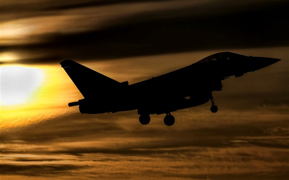Wallpaper Eurofighter Typhoon FGR4 fighter flight at sunset