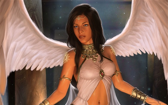 Wallpaper Fantasy girl, angel, wings, art picture