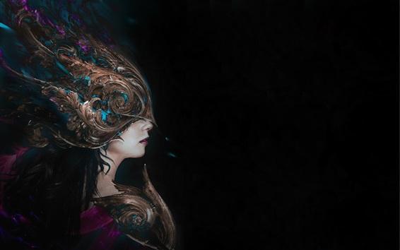 Wallpaper Fantasy girl side view, mask, black background
