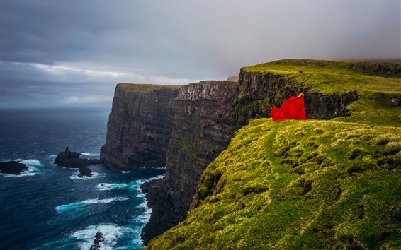 Wallpaper Faroe Islands, Atlantic ocean, Denmark, sea, cliff, red dress girl