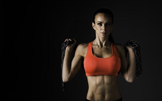 壁纸 健身女子,锻炼,金属链