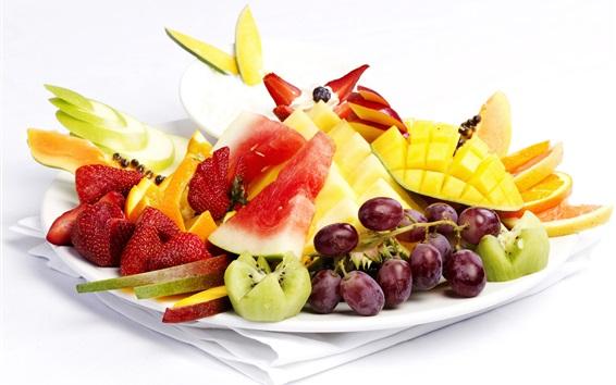 Wallpaper Fresh fruit dessert, grapes, strawberries, mango, watermelon, oranges