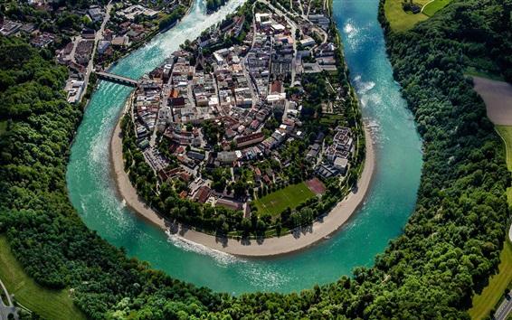 Wallpaper Germany, Bayern, Wasserburg, city, river, houses, trees
