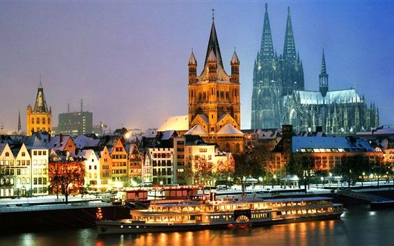 Fond d'écran Allemagne, Cologne, Cathédrale, bateau, nuit, lumières