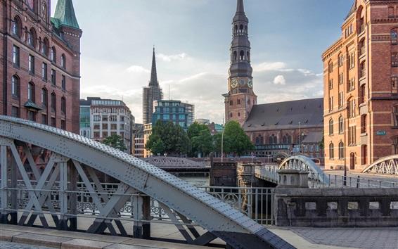 Обои Германия, Гамбург, церковь, река, мост, башня, дома