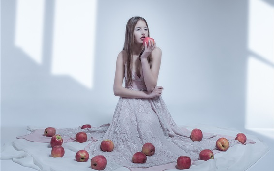 Wallpaper Girl and apples, room