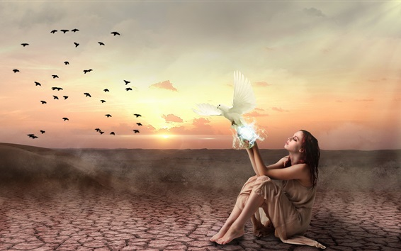 Wallpaper Girl and birds, sunset, creative picture