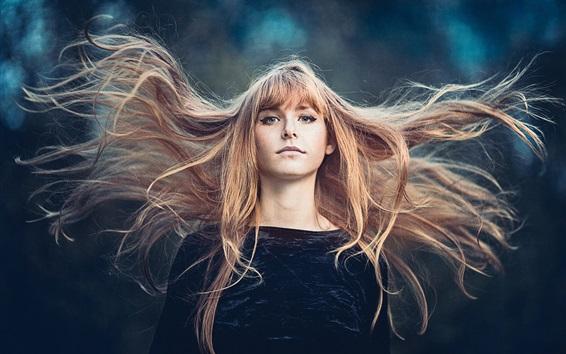 Wallpaper Girl hair in the wind