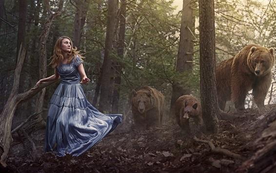 Fond d'écran Fille en forêt, ours bruns
