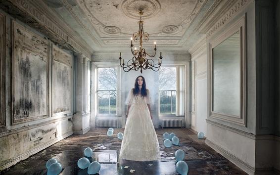 Wallpaper Girl in room, candles, wet floor