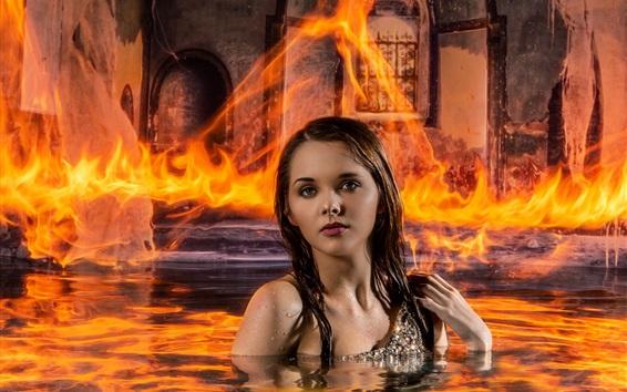 Wallpaper Girl in water, fire