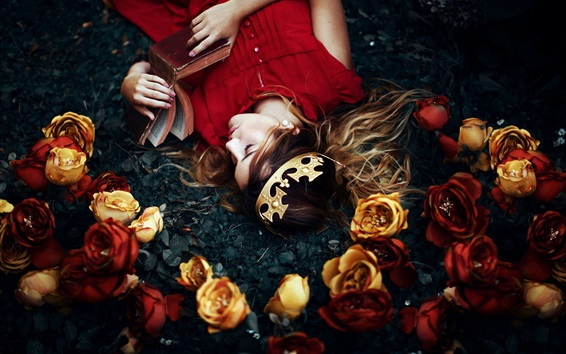 Wallpaper Girl lying on ground, read book, crown, roses