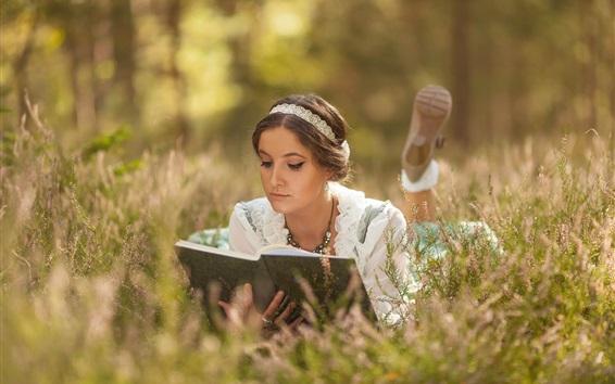 壁紙 女の子、読書、草