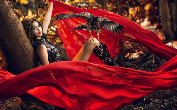 Wallpaper Girl, red cloth, eagle