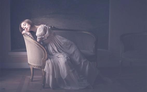 Papéis de Parede Menina de sono na cadeira, móveis, estilo vintage