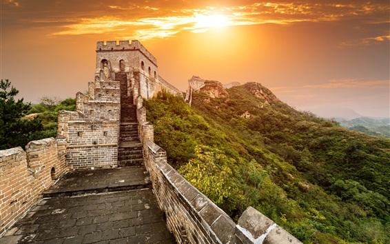 Papéis de Parede Grande Muralha, Pequim, China, por do sol