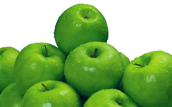 Fond d'écran Pommes vertes, gouttes d'eau, fond blanc