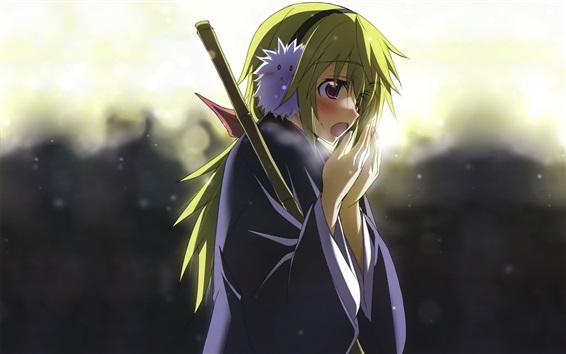 Wallpaper Green hair anime girl, sword, cold