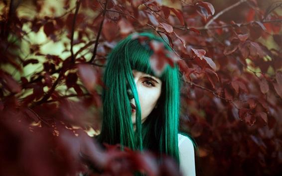 Wallpaper Green hair girl, leaves