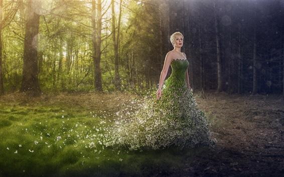 Papéis de Parede Menina de saia verde, natureza, árvores, fotografia de arte