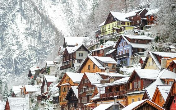 Papéis de Parede Hallstatt no inverno, casas, neve, Áustria