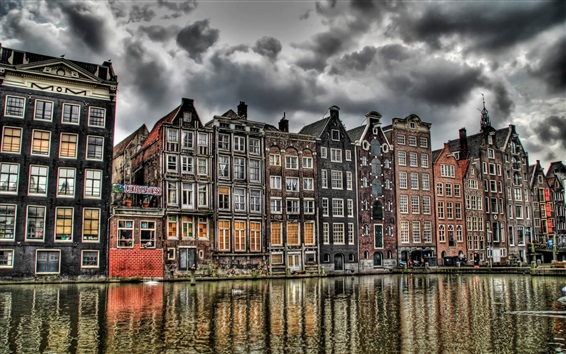 Wallpaper Holland, river, buildings, clouds, HDR style