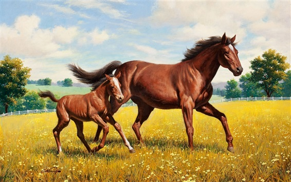 Wallpaper Horses walk, grass, painting