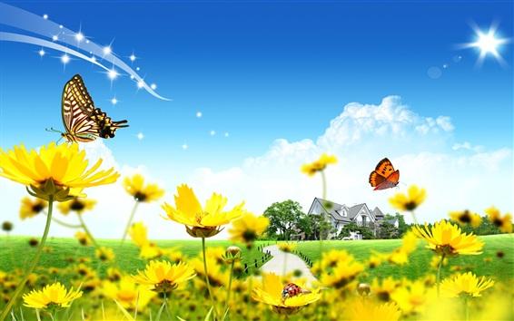 Fond d'écran Maison, fleurs jaunes, papillon, coccinelle, nuages, ciel bleu
