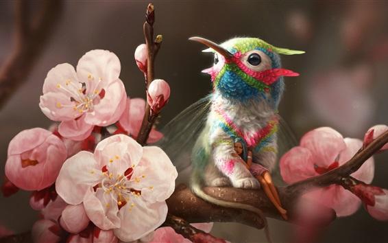 Обои Колибри, девочка эльфа, розовые цветы, весна